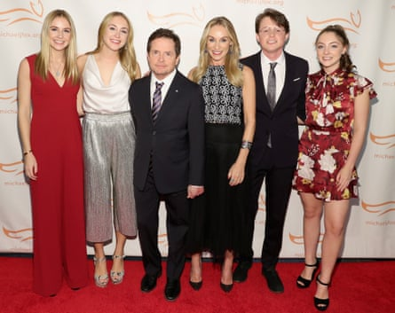 Michael J Fox with his family, from left: Schuyler, Aquinnah, his wife, Tracy Pollan, Sam and Esme in 2018.