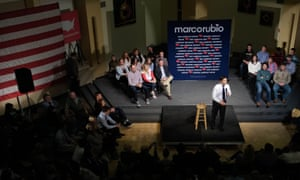 Marco Rubio campaiging at Dordt College, Iowa, America - 16 Jan 2016<br>Mandatory Credit: Photo by Jerry Mennenga/ZUMA Wire/REX/Shutterstock (5541707a) Republican presidential candidate U.S. Sen. Marco Rubio campaigns in the Campus Centre at Dordt College Marco Rubio campaiging at Dordt College, Iowa, America - 16 Jan 2016 Rubio missed an earlier event in Northwest Iowa because of snow conditions on the ground.