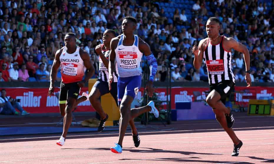 Reece Prescod wins the men's 100m final at the British Championships, Alexander Stadium, Birmingham, on 30 June 2018.
