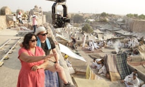 Director Gurinder Chadha and director of photography Ben Smithard on the set of Viceroy's House (2017).