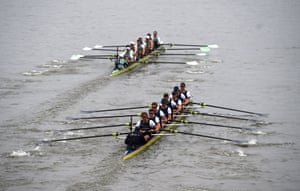 Cambridge lead the race by a length from Oxford