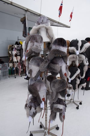 Most of the fur hats for sale are made from arctic foxes and seals