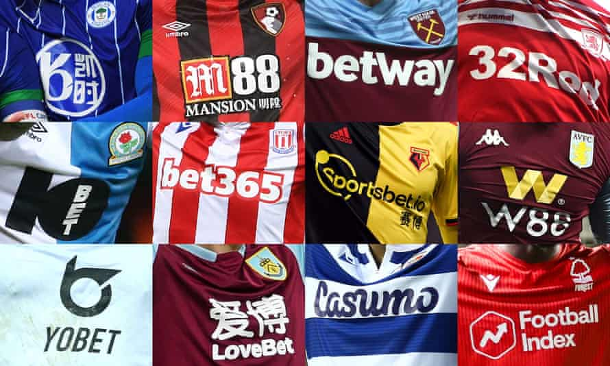 Betting companies feature on the shirts of tens of top teams