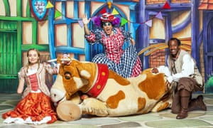 Cerrie Burnell with Chris Jarvis and Sid Sloane in the 2012 CBeebies Christmas panto