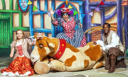 Cerrie Burnell, left, in the 2012 CBeebies Christmas panto