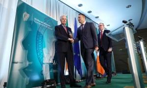 Michel Barnier, left, Leo Varadkar and An Tánaiste and Minister for Foreign Affairs and Trade, Simon Coveney