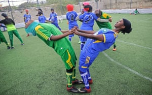 Golden Club academy players. 'We use football to fight early marriage and to fight for women's rights in society,' said Shaima Mohamed.