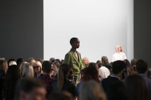 The crowd watches the models during the Bianca Spender show.