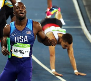 With others stumbling in the background Lashawn Merritt looks calm as he wins the gold in the men's 4x400m relay final.