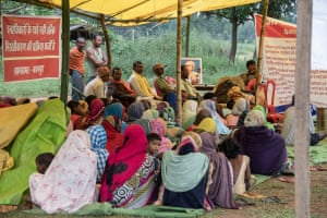 Gond gather to protest further mining of their Hasdeo Arand forest at the threatened village of Fathepur.