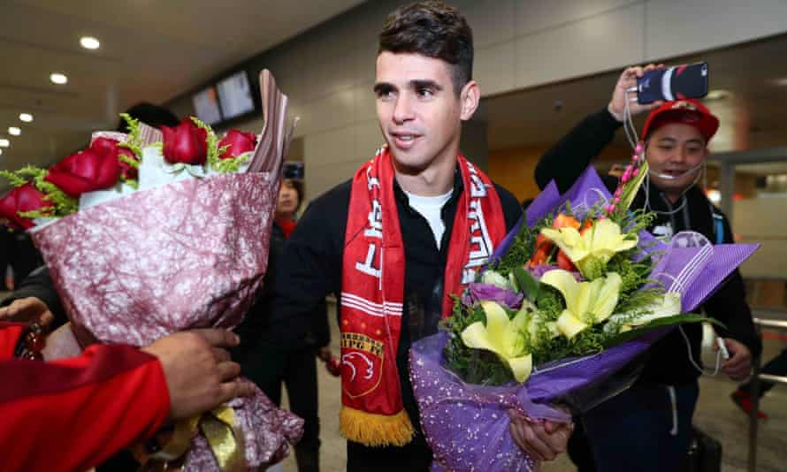 The Brazilian player Oscar at Shanghai airport this month.