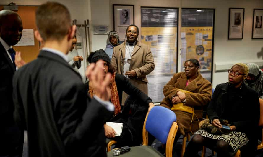 A Home Office briefing meeting in Manchester, for Windrush generation people still awaiting compensation from the government.