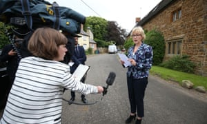 Leadsom issues a statement outside her home in Northamptonshire in response to the motherhood row.