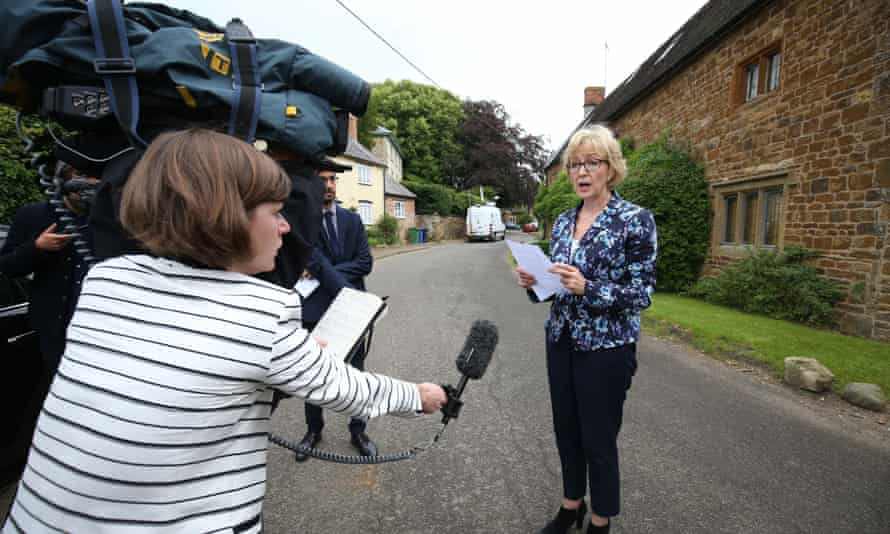 Andrea Leadsom faces the press after her remarks about Theresa May.