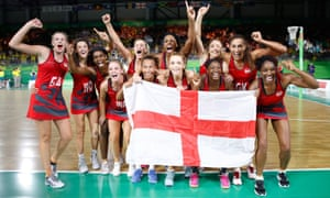 The England netball team celebrate winning gold at the 2018 Commonwealth Games