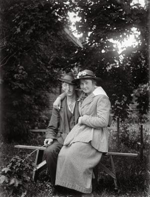 """Miss Linnea Ekenberg and Emil Johanson, Tibble Torstunaby."" Place: Sävasta, Altuna Parish Year: 1919"
