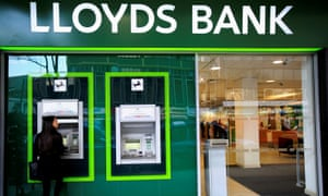 A cash machine at a Lloyds Bank branch in central London.
