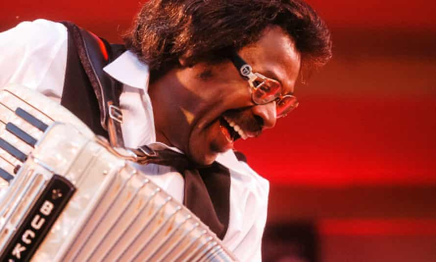 'Buckwheat' playing accordion as he leads the Ils Sont Partis band during the 20th Chicago Blues festival, 2003.