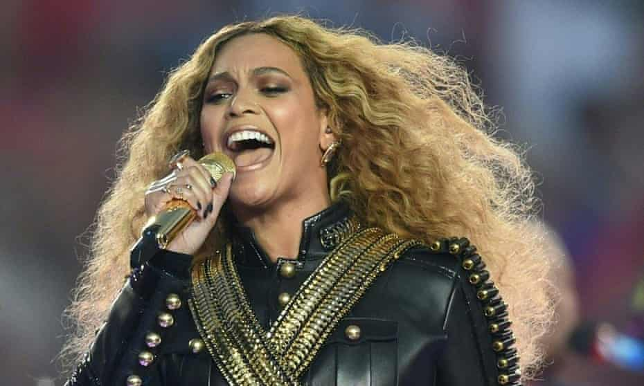 Slaying: Beyonce plays the Super Bowl.