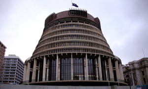 The New Zealand parliament building known as the Beehive in central Wellington