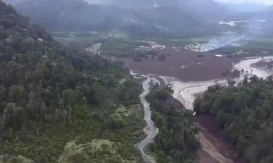 Damage done by a landslide is seen in Villa Santa Lucia