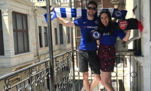 Chelsea fans Mark Narborough and Caroline Rafizadeh in Baku on Wednesday before the final.