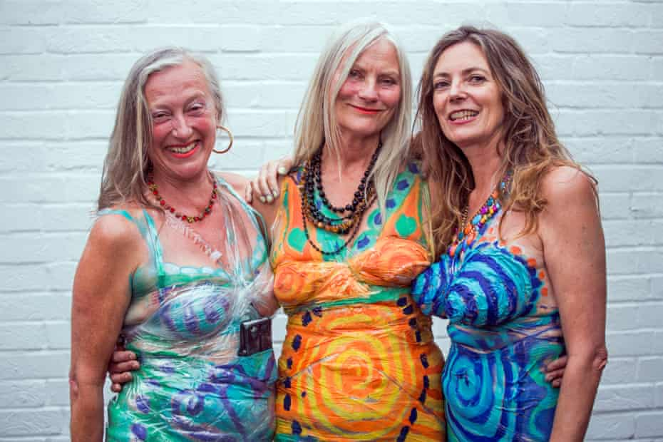Neo Naturists today … (from left) Christine Binnie, Jennifer Binnie and Wilma Johnson at the opening of their retrospective at Studio Voltaire