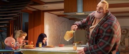 Superhero househusband … Mr Incredible supervises breakfast.
