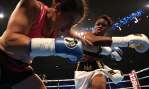 Nicola Adams on her way to victory in Manchester against Virginia Noemi Carcamo in April 2017.