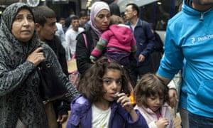 Syrian refugees arrive at Copenhagen's main station