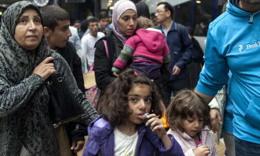 Refugees arriving in Copenhagen