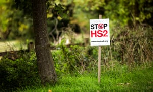 Anti-HS2 signage around Buckinghamshire. The 117-mile line will cut through the Chilterns.