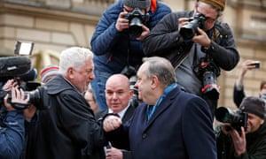 Alex Salmond bumps elbows with Gordon Jackson