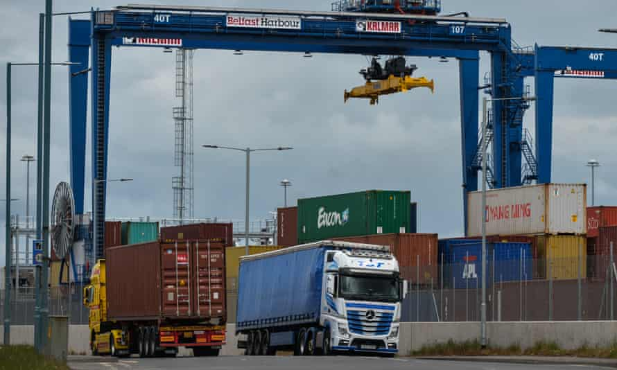 Lorries next to the container terminal in Belfast port.