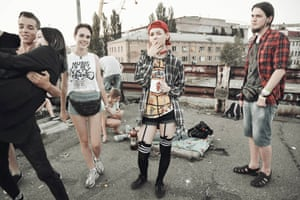 A group of underground youth during a party organised on a decommissioned bridge in Kiev