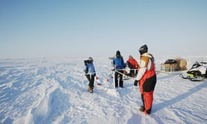 Ice911 researchers at work at their test site near Utqiaġvik, Alaska.