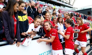 Players and fans after Bristol City Women v Brighton and Hove Albion Women at Ashton Gate