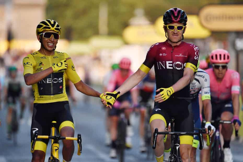 Colombia's Egan Bernal crosses the line with team-mate Geraint Thomas.