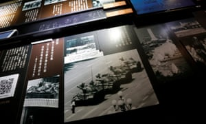 A photo of 'Tank Man' is displayed inside June 4th Museum in Hong Kong, which commemorates the 1989 crackdown on protesters in Beijing's Tiananmen Square.