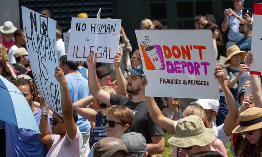 Activists protest against the Trump administration's immigration policies last year. Workers at the furniture company Wayfair are planning a demonstration this week.