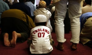 Friday prayer at a mosque in Woking, Surrey