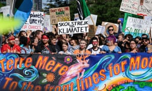 Demonstrators in Montreal, led by Swedish climate activist Greta Thunberg.