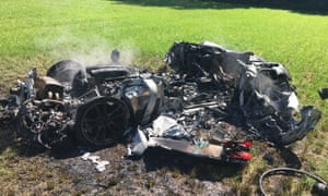 The remains of the crashed Ferrari 430 Scuderia in a field in South Yorkshire