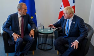 Donald Tusk (L), President of the European Council, and Boris Johnson, Prime Minister of the United Kingdom,