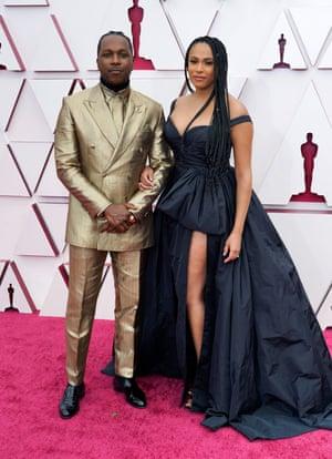 Leslie Odom Jr., left, and Nicolette Robinson arrive at the Oscars 93rd Annual Academy Awards, Arrivals, Los Angeles, USA - 25 Apr 2021