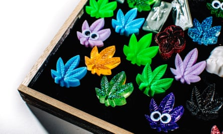 Badges of honour: assorted glass marijuana leaf-shaped decorative pieces on display in the church lounge.