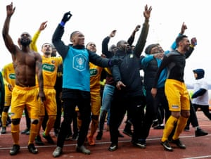 Viry-Chatillon players celebrate after beating Angers in the French Cup.