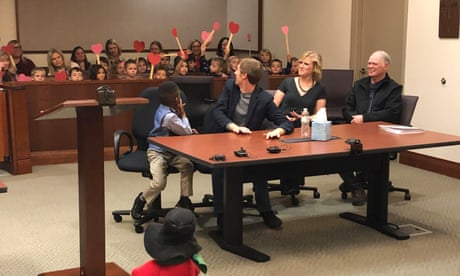 'Not a dry eye': entire kindergarten class shows up to witness boy's adoption