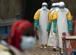 Health workers in protective clothing at an Ebola treatment centre in Beni, Democratic Republic of Congo, this week