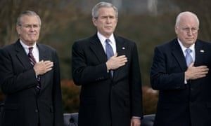 From left to right: Donald Rumsfeld, George W Bush and Dick Cheney, pictured in 2006 at the armed forces farewell tribute to Rumsfeld at the Pentagon.